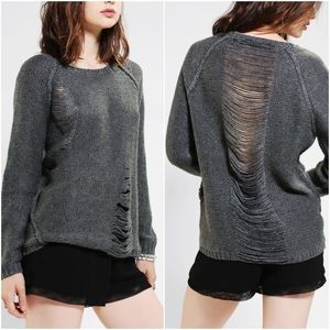 UO Sparkle & Fade Ladder Slit Pullover Sweater